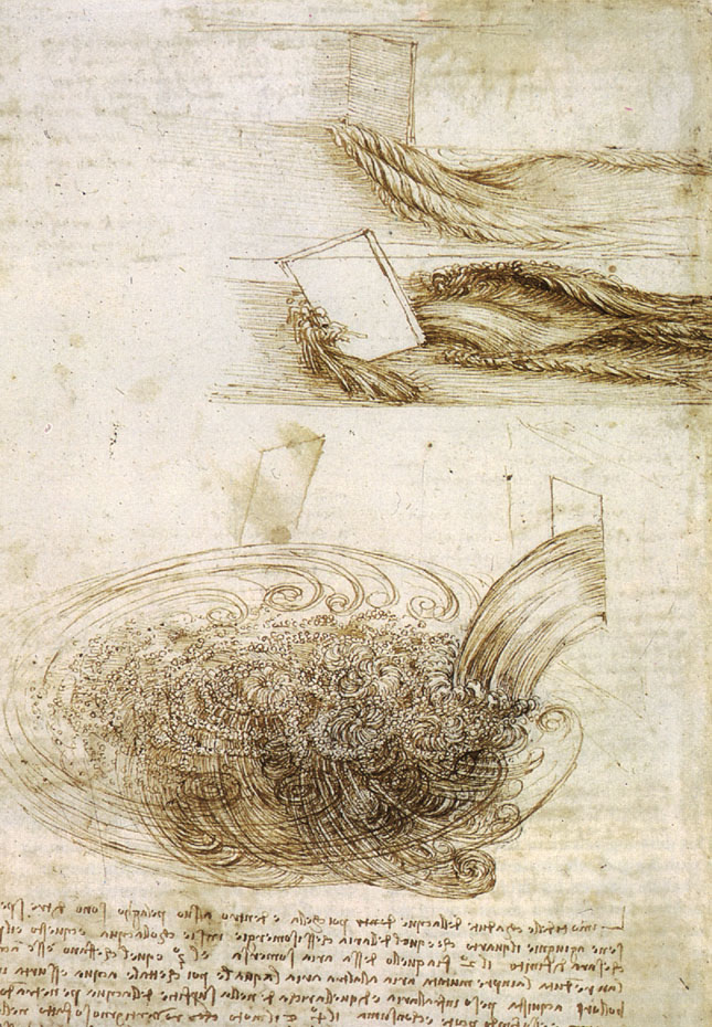 Leonardo da Vinci: Studies of Water passing Obstacles and falling, c. 1508-9